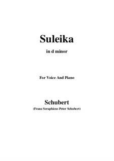 Suleika I, D.720 Op.14 No.1: For voice and piano (d minor) by Franz Schubert