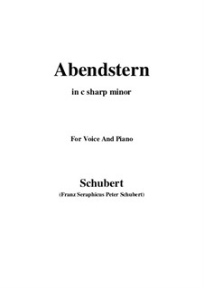 Abendstern, D.806: For voice and piano (c sharp minor) by Franz Schubert