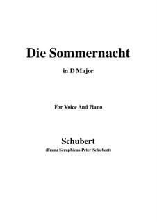 Die Sommernacht, D.289: D Major by Franz Schubert