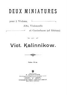 Zwei Miniaturen für Streichquartet und Kontrabass (ad libitum): Violinstimme I by Viktor Kalinnikov