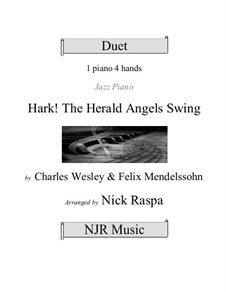 Hark! The Herald Angels Sing, for Piano: Version four hands (advanced intermediate) by Felix Mendelssohn-Bartholdy