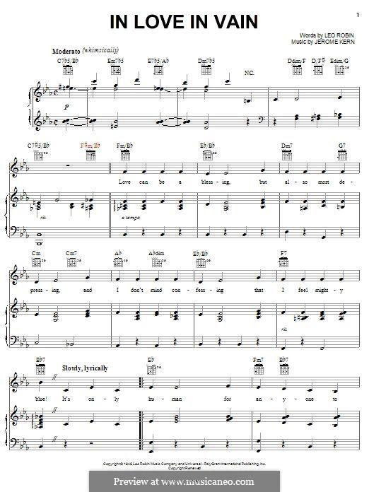 In Love in Vain: Für Stimme und Klavier (oder Gitarre) by Jerome Kern