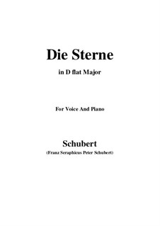 Die Sterne, D.939 Op.96 No.1: For voice and piano (D flat Major) by Franz Schubert