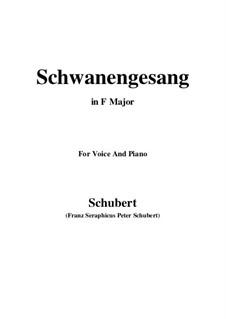 Schwanengesang für Stimme und Klavier, D.744 Op.23 No.3: F-Dur by Franz Schubert