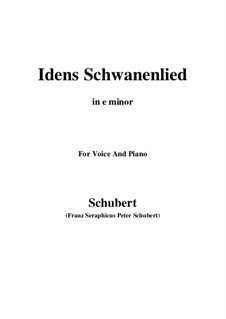 Idens Schwanenlied, D.317: E minor by Franz Schubert