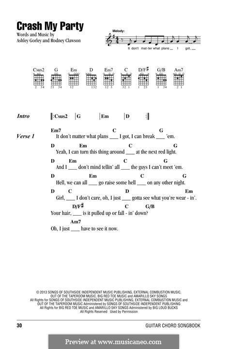 Crash My Party: Text und Akkorde by Ashley Gorley, Rodney Clawson