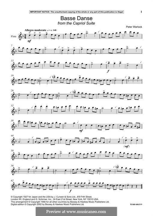 Capriol Suite: No.1 Basse-danse by Peter Warlock