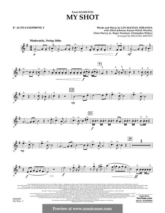My Shot: Eb Alto Saxophone 2 part by Lin-Manuel Miranda