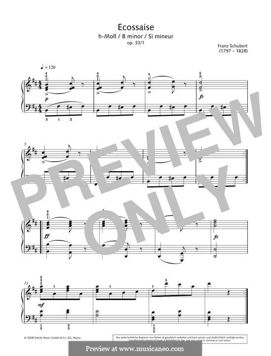 Sechzehn deutsche Tänze und zwei Ecossaises, D.783 Op.33: Écossaise No.1 by Franz Schubert