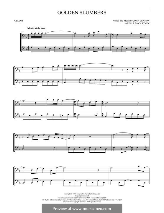 Golden Slumbers (The Beatles): Für zwei Cellos by John Lennon, Paul McCartney