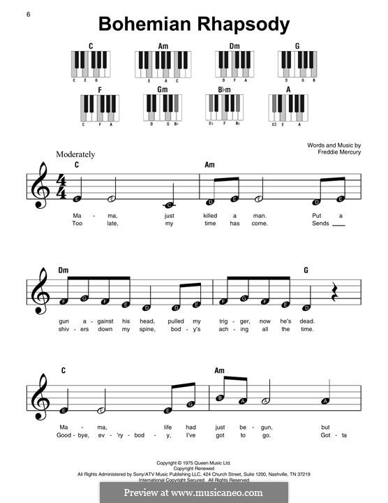 Bohemian Rhapsody (Queen): Für Klavier by Freddie Mercury
