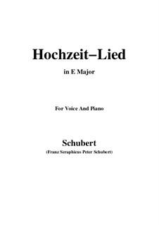 Hochzeitslied, D.463: E Major by Franz Schubert