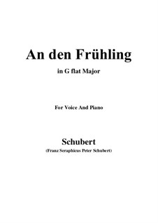 An den Frühling, D.587: G flat Major by Franz Schubert