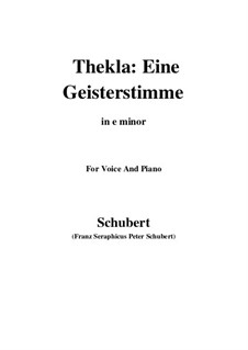 Thekla. Eine Geisterstimme, D.595 Op.88 No.2: For voice and piano (e minor) by Franz Schubert