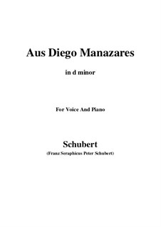 Aus Diego Manazares, D.458: D minor by Franz Schubert