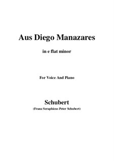 Aus Diego Manazares, D.458: E flat minor by Franz Schubert