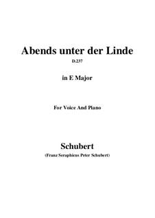 Abends unter der Linde, D.237: E Major by Franz Schubert