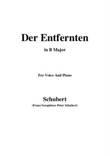 Der Entfernten, D.350: B Major by Franz Schubert