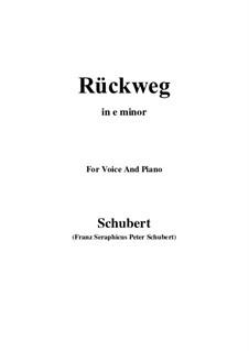 Rückweg, D.476: E minor by Franz Schubert
