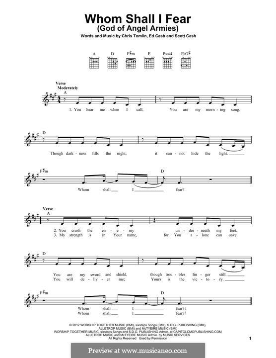 Whom Shall I Fear (God of Angel Armies): Für Gitarre by Chris Tomlin, Ed Cash, Scott Cash