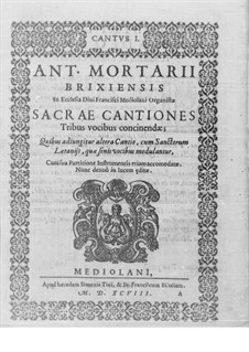 Sacrae cantiones: Cantus I part by Antonio Mortaro
