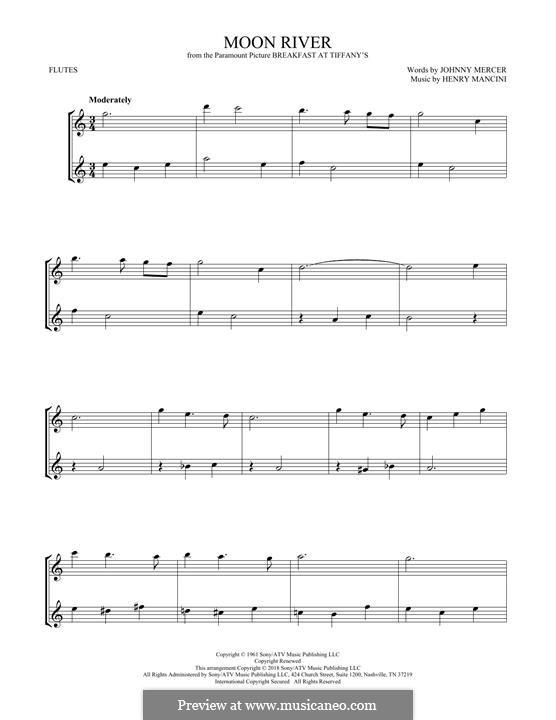 Moon River (from Breakfast at Tiffany's): Für zwei Flöten by Henry Mancini
