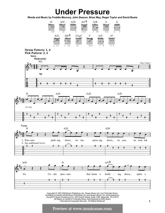 Under Pressure (David Bowie & Queen): Für Gitarre by Brian May, David Bowie, Freddie Mercury, John Deacon, Roger Taylor