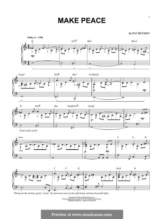 Make Peace: Für Klavier by Pat Metheny
