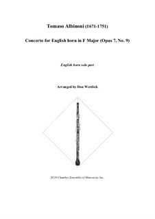 Concerto No.9 in F Major: For english horn and string orchestra – solo part by Tomaso Albinoni
