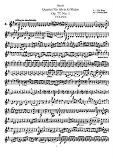 Streichquartett Nr.66 in G-Dur, Hob.III/81 Op.77 No.1: Violinstimme II by Joseph Haydn