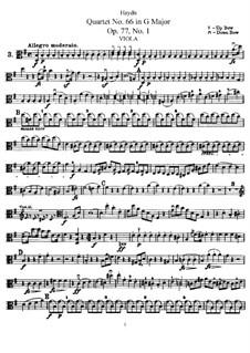 Streichquartett Nr.66 in G-Dur, Hob.III/81 Op.77 No.1: Bratschenstimme by Joseph Haydn