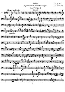 Streichquartett Nr.66 in G-Dur, Hob.III/81 Op.77 No.1: Cellostimme by Joseph Haydn