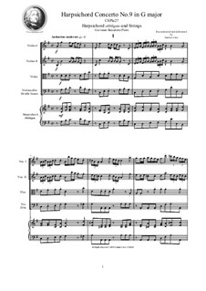 9 Concertos for Harpsicord obbligato and Strings: Concerto No.9 in G major, CSPla27 by Giovanni Benedetto Platti