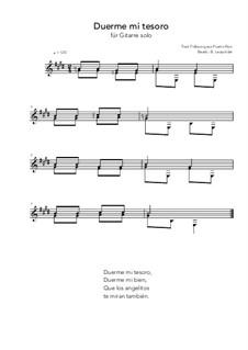 Duerme mi tesoro: For guitar solo (E Major) by folklore