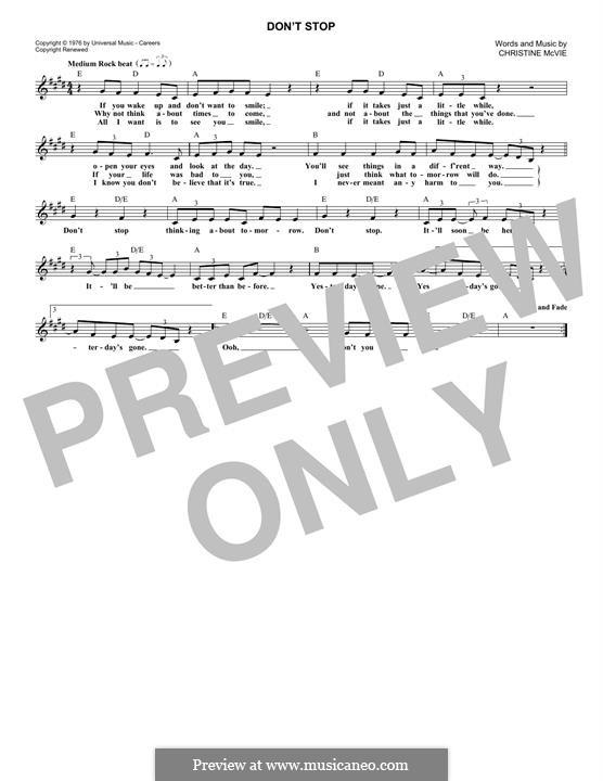 Don't Stop (Fleetwood Mac): Melodische Linie by Christine McVie