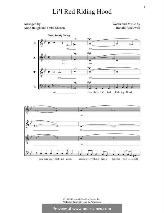 Lil' Red Riding Hood (Sam The Sham & The Pharoahs): Für gemischten Chor by Ronald Blackwell