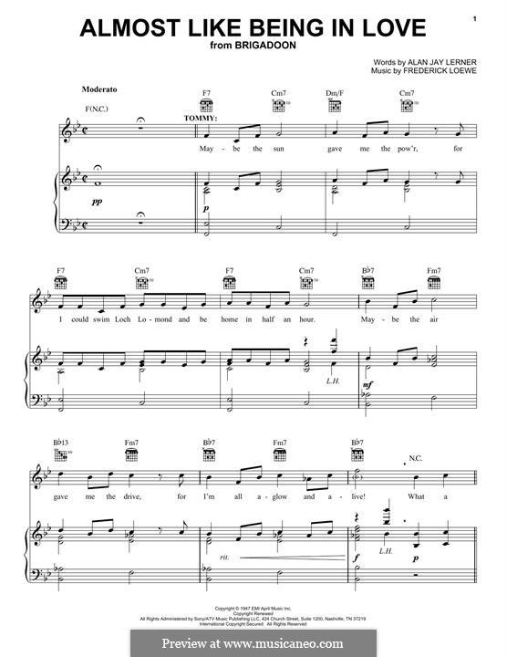 Almost Like Being in Love: Für Stimme und Klavier (oder Gitarre) by Frederick Loewe