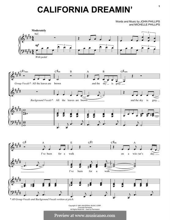 California Dreamin' (The Mamas & The Papas): Für Stimme und Klavier by John Phillips, Michelle Phillips