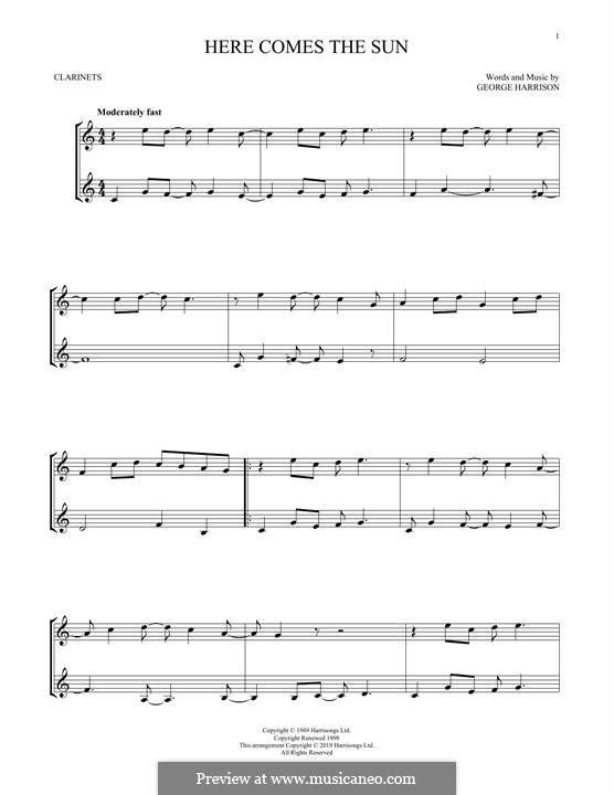 Here Comes the Sun (The Beatles): Für zwei Klarinetten by George Harrison