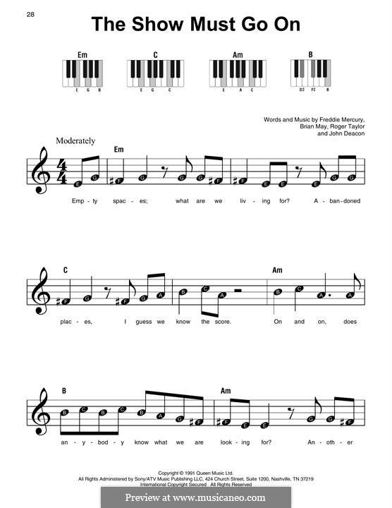 The Show Must Go On (Queen): Für Klavier by Brian May, Freddie Mercury, John Deacon, Roger Taylor