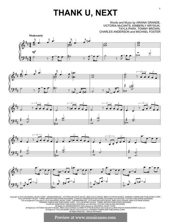 Thank U, Next: Für Klavier by Ariana Grande, Victoria McCants, Taylor Parks, Kimberly Krysiuk