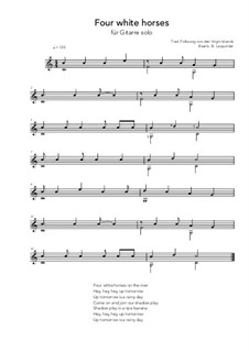 Four white horses: For guitar solo (C Major) by folklore