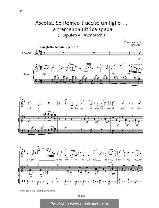 Die Capulets und die Montague: Se Romeo t'uccise un figlio... La tremenda ultrice spada by Vincenzo Bellini