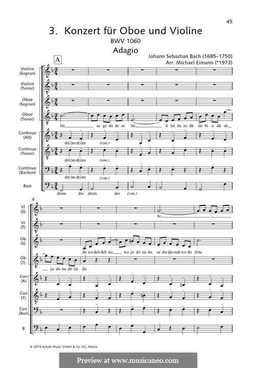 Konzert für zwei Cembali und Streicher Nr.1 in c-Moll, BWV 1060: Adagio, for choir by Johann Sebastian Bach