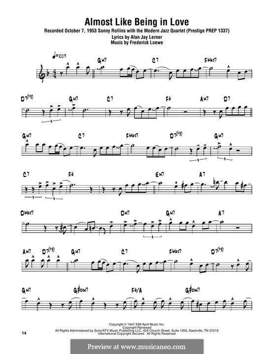 Almost Like Being in Love: Für Tenorsaxophon by Frederick Loewe