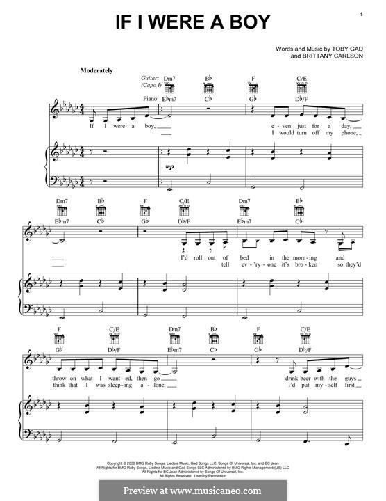 If I Were a Boy (Beyonce): Für Stimme und Klavier (oder Gitarre) by Britney Carlson, Tobias Gad