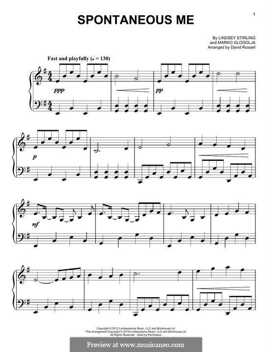 Spontaneous Me: Für Klavier by Marco Glogolja, Lindsey Stirling