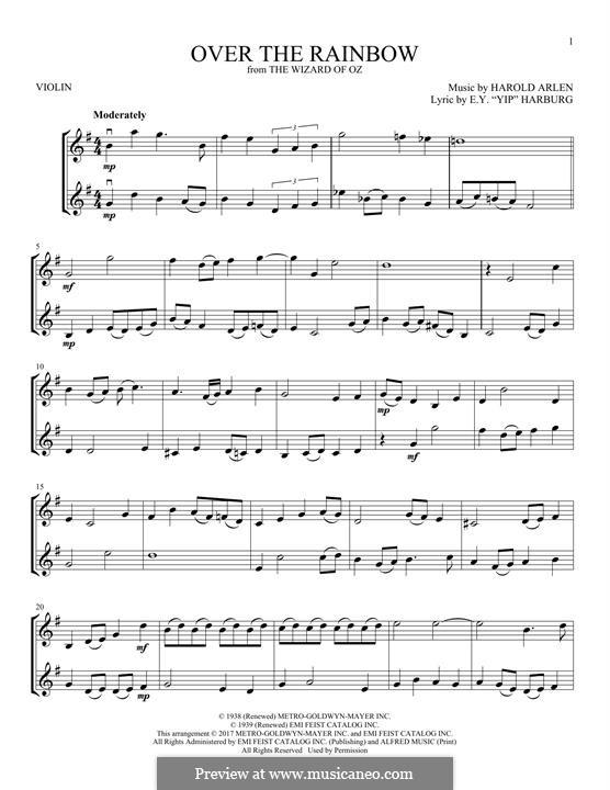 Over the Rainbow (from The Wizard of Oz): Für zwei Violinen by Harold Arlen