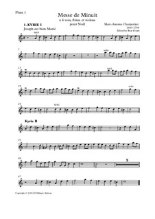 Messe de Menuit pur Noël (SSAA soli, SSAA choir, flutes, strings and continuo): Set of parts by Marc-Antoine Charpentier