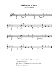Glides our canoe: For guitar solo (A Major) by folklore